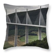 Millau Viaduct In France Throw Pillow
