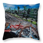 Mille Miglia On Board With Peter Collins Throw Pillow