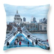 Millenium Bridge And St Pauls Cathedral Throw Pillow