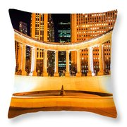 Millennium Monument Fountain In Chicago Throw Pillow by Paul Velgos