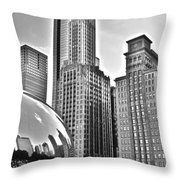 Millennium Park In Black And White Throw Pillow