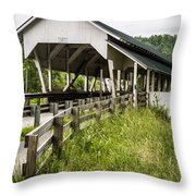 Millers Run Covered Bridge Throw Pillow by Edward Fielding