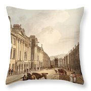 Milsom Street, From Bath Illustrated Throw Pillow