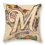 Milwaukee Brewers Poster Art Throw Pillow