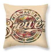 Milwaukee Brewers Poster Vintage Throw Pillow