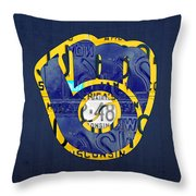 Milwaukee Brewers Vintage Baseball Team Logo Recycled Wisconsin License Plate Art Throw Pillow