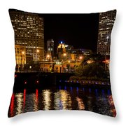 Milwaukee River And Downtown Skyline Throw Pillow
