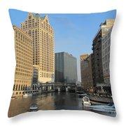 Milwaukee River Theater District 2 Throw Pillow