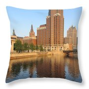 Milwaukee River Theater District 4 Throw Pillow