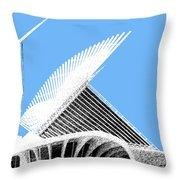 Milwaukee Skyline Art Museum - Light Blue Throw Pillow by DB Artist