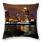 Milwaukee Skyline At Dusk Throw Pillow