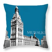 Milwaukee Skyline City Hall - Steel Throw Pillow