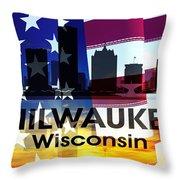 Milwaukee Wi Patriotic Large Cityscape Throw Pillow