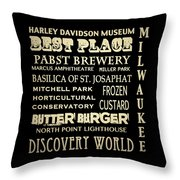 Milwaukee Wisconsin Famous Landmarks Throw Pillow