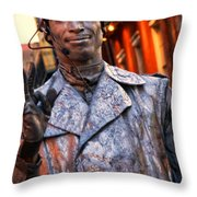 Mime In Silver On Bourbon St. Throw Pillow