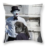 Mime In Venice Throw Pillow