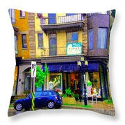 Mimi And Coco Clothing Boutique Laurier In The Rain  Plateau Montreal City Scenes Carole Spandau Art Throw Pillow