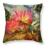 Mimosa Blossoms Throw Pillow