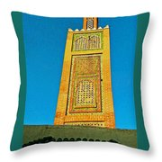 Minaret For Call To Prayer In Tangiers-morocco Throw Pillow
