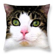 Mina's Green Eyes Throw Pillow