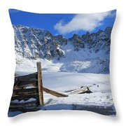 Mine Relics In The Snow Throw Pillow