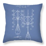 Mine Shaft Safety Device Patent From 1899 - Light Blue Throw Pillow