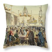 Miners In Saloon, 1852 Throw Pillow