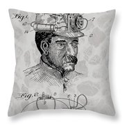 Miner's Lamp Patent Throw Pillow