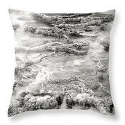 Minerva Springs In Black And White Yellowstone National Park Wyoming Throw Pillow