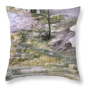 Minerva Springs Terraces Yellowstone National Park Throw Pillow