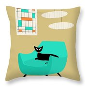 Mini Abstract With Aqua Chair Throw Pillow