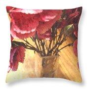 Mini Carnation Bouquet Throw Pillow