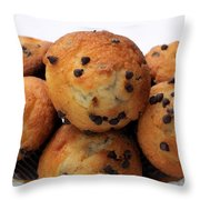 Mini Chocolate Chip Muffins And Milk - Bakery - Snack - Dairy - 2 Throw Pillow