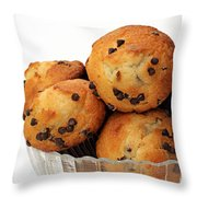 Mini Chocolate Chip Muffins And Milk - Bakery - Snack - Dairy - 3 Throw Pillow