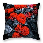 Mini Roses On Walk Throw Pillow