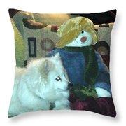 Miniature American Eskimo And Snowman Throw Pillow
