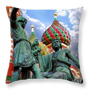 Minin And Pozharsky Monument In Moscow Throw Pillow by Oleksiy Maksymenko
