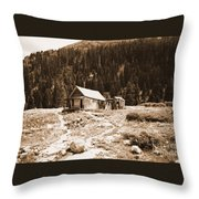 Mining House In Black And White Throw Pillow