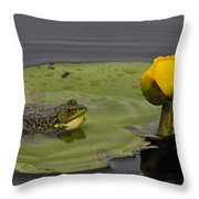 Mink Frog On Lilypad  Throw Pillow