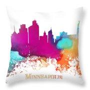 Minneapolis City Colored Skyline Throw Pillow