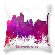 Minneapolis City Skyline Purple Throw Pillow