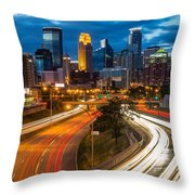 Minneapolis Light Trails Throw Pillow