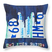 Minneapolis Minnesota City Skyline License Plate Art The Twin Cities Throw Pillow