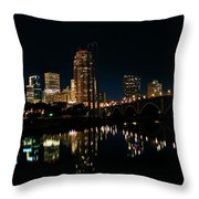 Minneapolis Night Skyline Throw Pillow