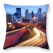 Minneapolis Skyline At Dusk Early Evening Throw Pillow