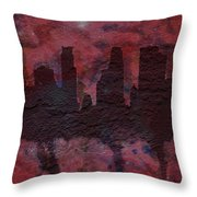 Minneapolis Skyline Brick Wall Mural Throw Pillow