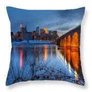 Minneapolis Skyline Images Stone Arch Bridge Spring Evening Throw Pillow