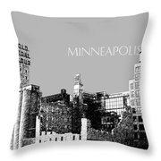 Minneapolis Skyline Mill City Museum - Silver Throw Pillow