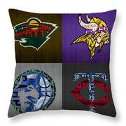 Minneapolis Sports Fan Recycled Vintage Minnesota License Plate Art Wild Vikings Timberwolves Twins Throw Pillow