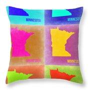 Minnesota Pop Art Map 2 Throw Pillow
